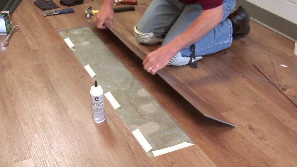 Замена нового ламината на место поврежденного с использованием клея