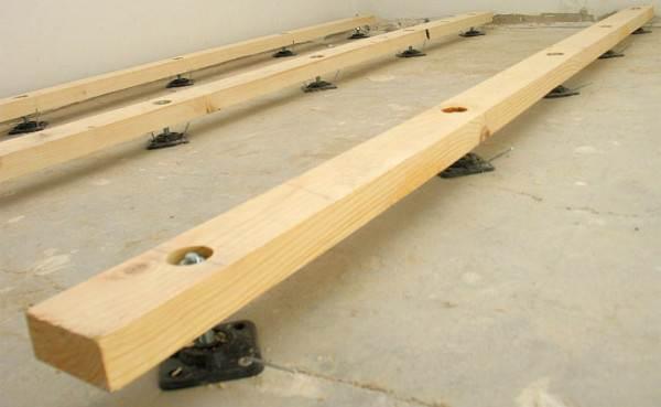 Черновые полы в деревянном доме на регулируемых лагах