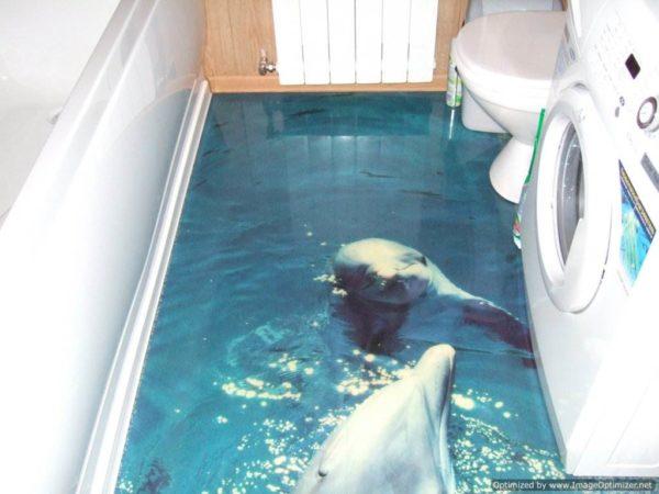 Дельфины на полу в ванной комнате