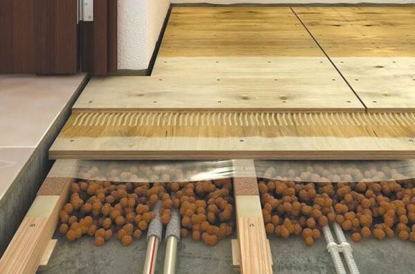Деревянные лаги, уложенные на бетон через подкладки
