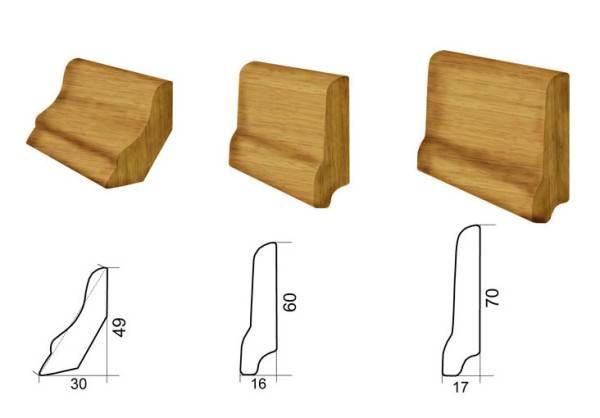 Деревянные плинтусы разных размеров.