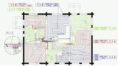 Детальный план размещения нагревательных систем по всему дому с указанием используемого материала и длиной труб