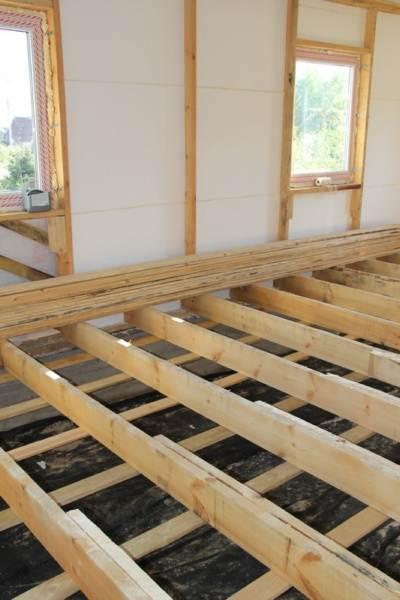 Если длины лаг не хватает, то доски крепятся между собой с помощью гвоздей или саморезов, образуя надежную опору для финишного покрытия