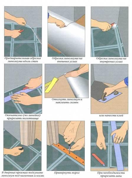 Фото – инструкция обрезки, укладывания и крепления линолеумного рулона на подготовленное, ровное основание.