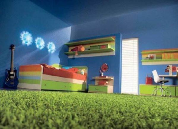 Фото детской комнаты с полом, покрытым ковролином