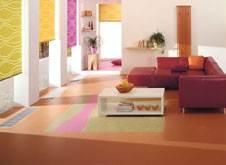 Фото гостиной с ярким линолеумом
