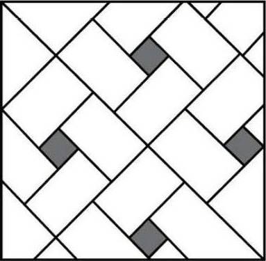 Фото способа укладки плитки «елочкой» со вставками.