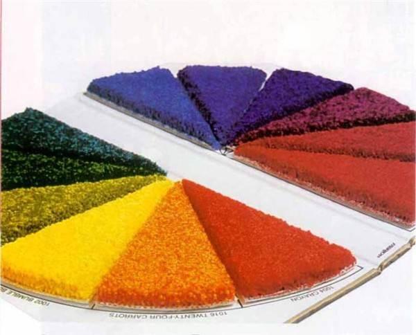 Ковровое покрытие различных цветов.