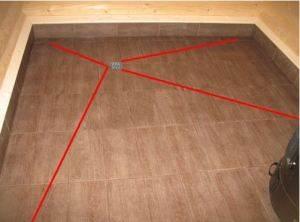 Красными линиями обозначены дополнительные швы на плитке