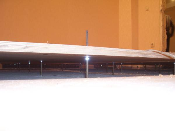 Крепление фанеры на регулируемые анкерные шпильки