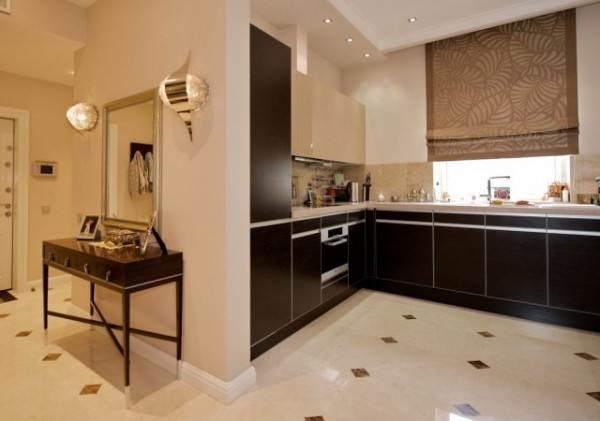 Линолеум под кафельную плитку на кухне
