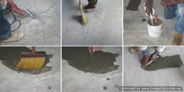 Любительские фото, показывающие последовательность простейшего ремонта стяжки