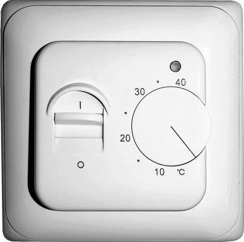 На фото - электромеханический терморегулятор для пленочного теплого пола. Максимально допустимая температура ограничена значением в 40 С.