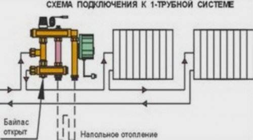 На фото – подключение термосмесителя к однотрубной системе