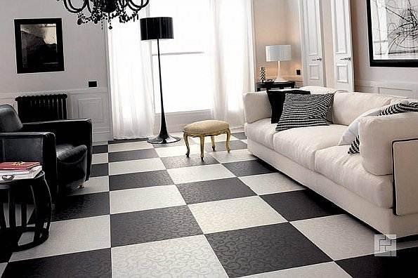 На фото показан вариант схемы укладки плитки на пол в виде контрастного шахматного чередования