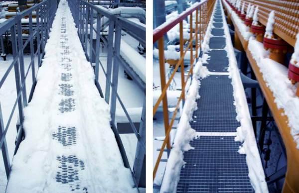 На фото слева – ходовой мостик из просечно-вытяжного листа, справа – из решетки