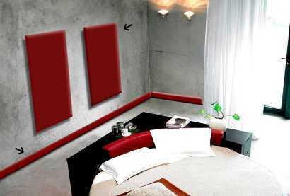 Обрамление красного цвета из ЛДФ в тон предметов интерьера.