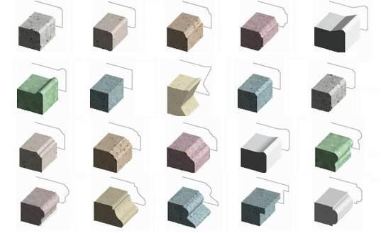 Образцы профилей из искусственного камня