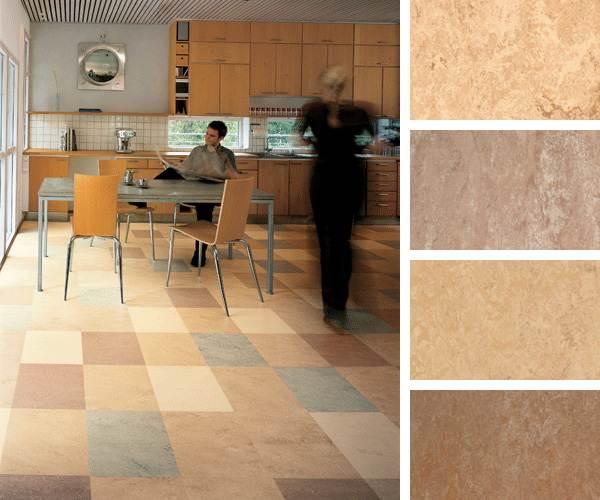 Очень часто современные кухонные интерьеры предусматривают модульный линолеум с различными цветами плит.