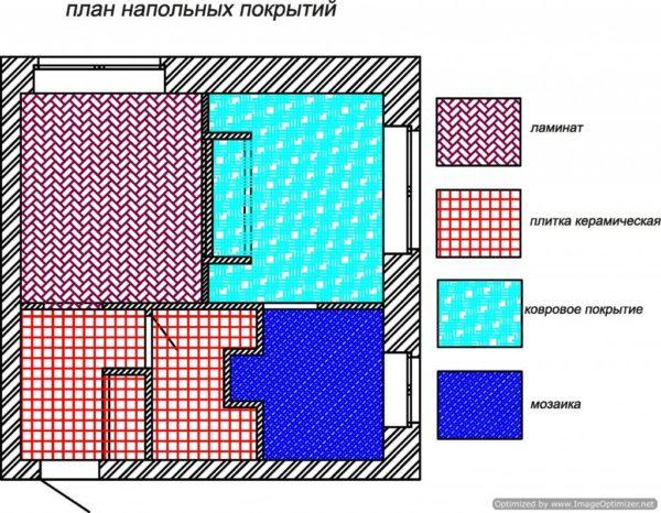 Один из вариантов планирования укладки напольных покрытий.