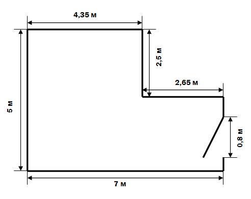 План Г-образной комнаты