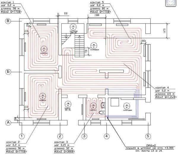 План с указанием шага крепления труб, тепловой мощности и другими данными