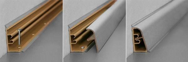 Пластиковый плинтус прост в установке и имеет привлекательный внешний вид.