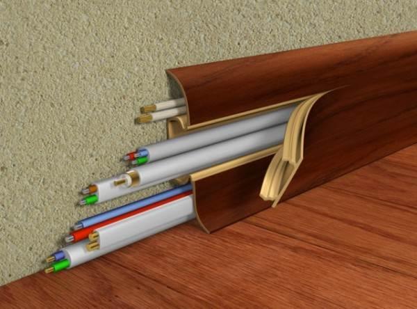 Плинтус пластиковый с кабель каналом: размеры зависят от количества проводов