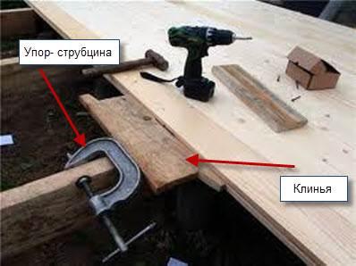 Плотная стыковка половиц с помощью клиньев