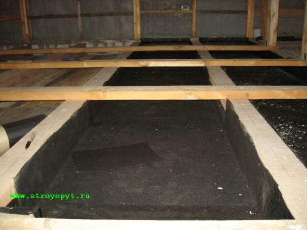 Подготовленная черновая поверхность с нанесенной гидроизоляцией