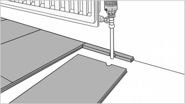 Подрезка под трубы требуется не только для подложки, но и для ламинированных панелей
