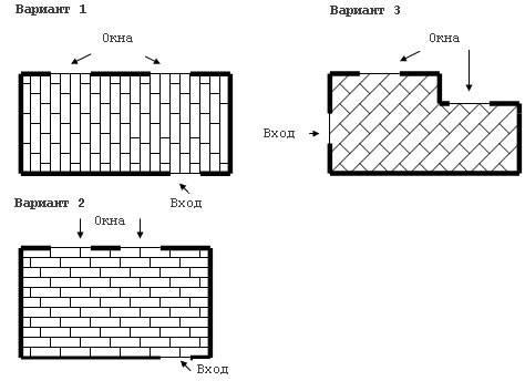 Показаны основные варианты расположения элементов.