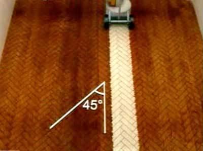 Пример движения шлифовальной машины при ёлочном расположении дощечек