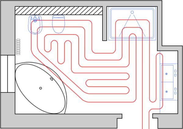 Примерная схема укладки системы отопления