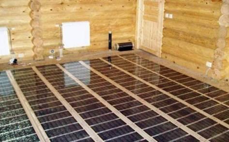 Принцип монтажа нагревательных элементов на деревянную плоскость предполагает создания расстояния между лагами по ширине матов