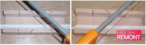 Проще всего резать углы с помощью стусла и ножовки по металлу