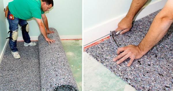 Раскатывание и наклейка коврового покрытия