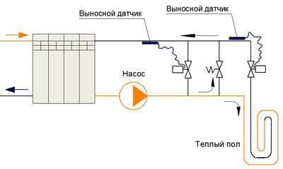 Схема подключения для «продвинутых» с выносным датчиком и подмесом