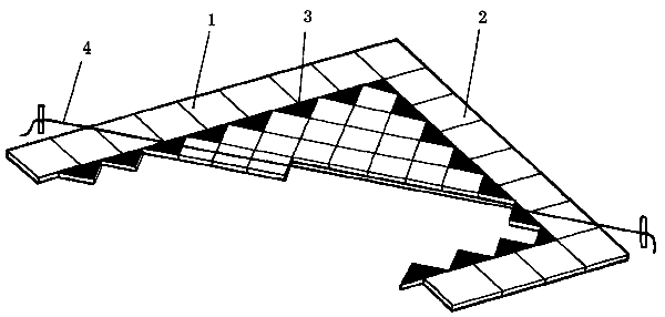 Схема укладки плитки наклонными рядами, где: 1 и 2 – фризовые линии; 3 – треугольные элементы; 4 – шнур-причалка.