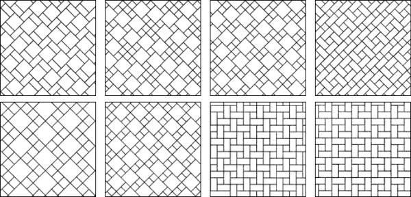Схема укладки плитки разных размеров