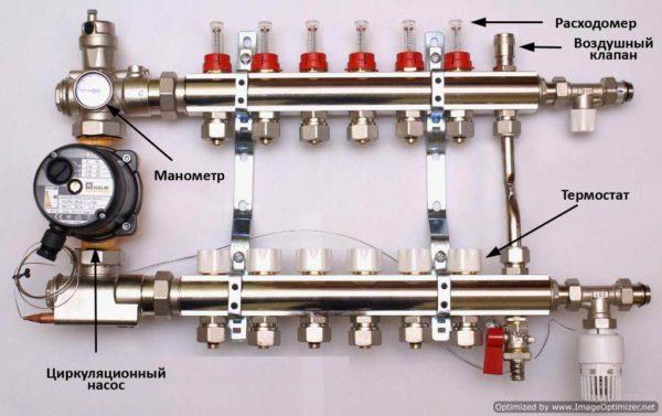 Схема устройства смесительного узла