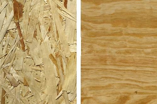 Слева на фото показана текстура OSB, а справа - фанера