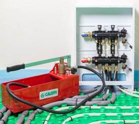 Собранная и подключенная система отопления, готовая к опрессовке