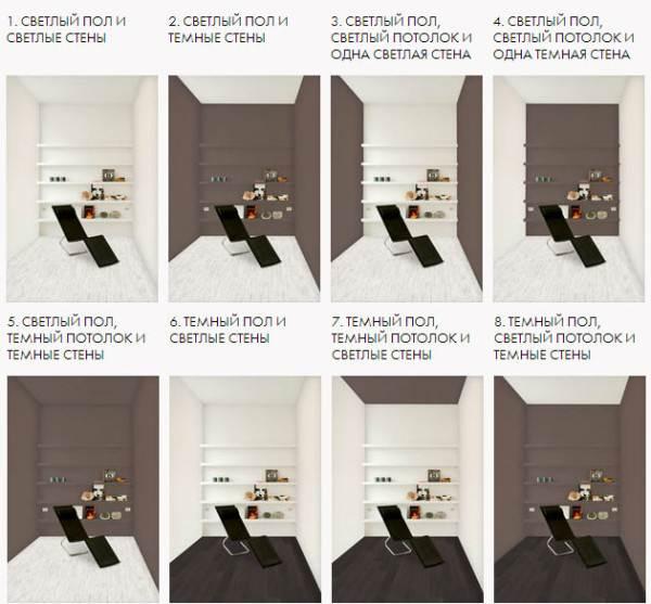 Сочетание светлого и темного цвета в отделке комнаты