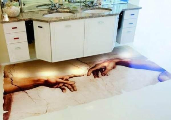 Такие изображения на полу – однозначно интересное решение