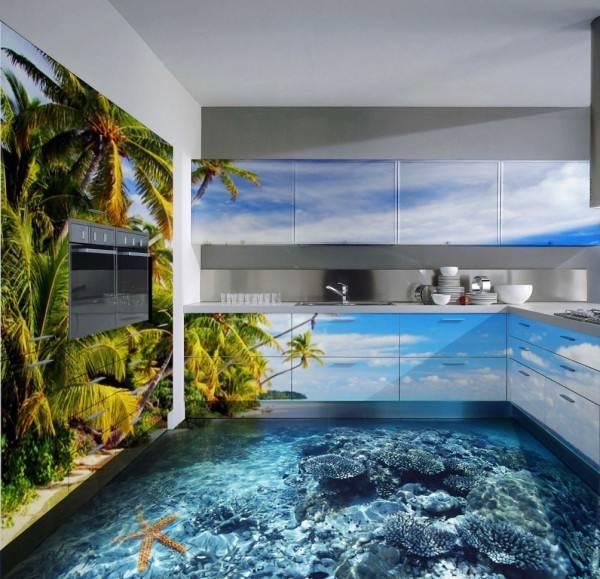 Трехмерный рисунок на полу в кухне
