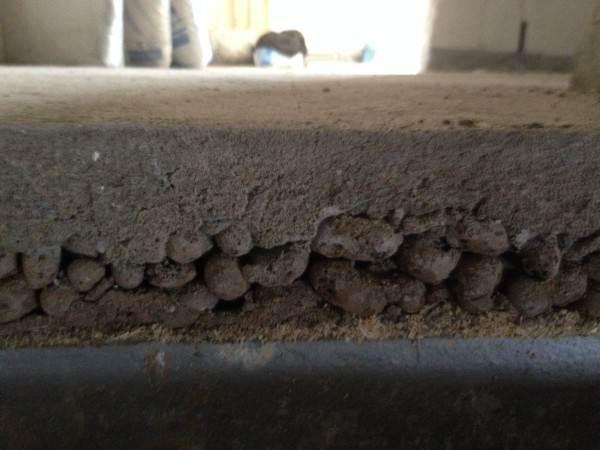 Цементно-песочная стяжка с утеплением в разрезе