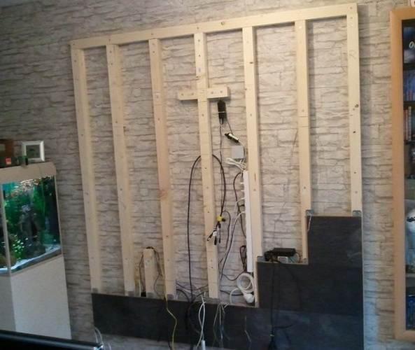 Укладка на стены своими руками может быть произведена с помощью обрешётки
