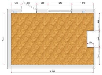 Вариант планирования установки материала цельным куском в небольшой комнате