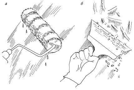Варианты удаления побелки при помощи валика и шпателя.